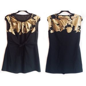ELIE TAHARI BLACK/GOLD NO NIGHT OUT TOP